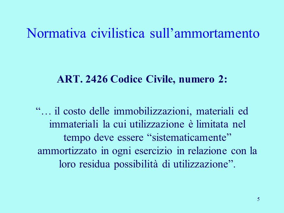 5 Normativa civilistica sullammortamento ART. 2426 Codice Civile, numero 2: … il costo delle immobilizzazioni, materiali ed immateriali la cui utilizz