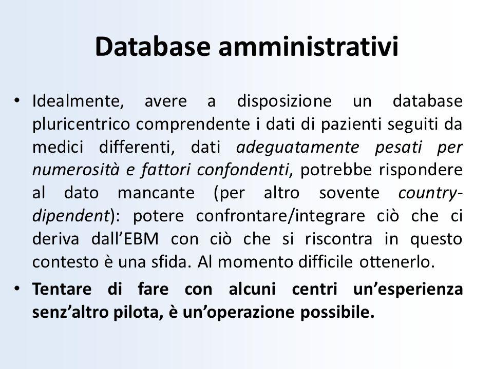 Idealmente, avere a disposizione un database pluricentrico comprendente i dati di pazienti seguiti da medici differenti, dati adeguatamente pesati per