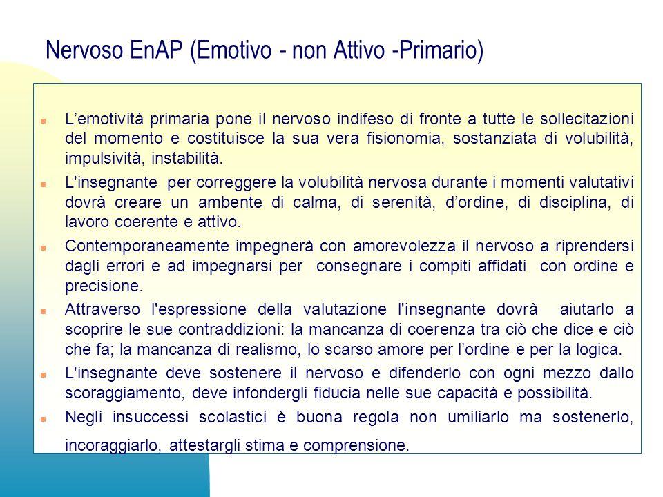Nervoso EnAP (Emotivo - non Attivo -Primario) n Lemotività primaria pone il nervoso indifeso di fronte a tutte le sollecitazioni del momento e costitu