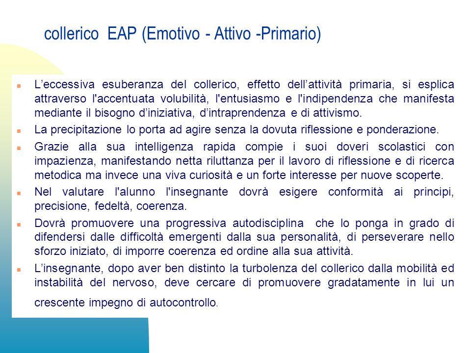 collerico EAP (Emotivo - Attivo -Primario) n Leccessiva esuberanza del collerico, effetto dellattività primaria, si esplica attraverso l'accentuata vo