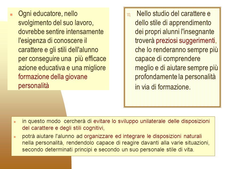 n in questo modo cercherà di evitare lo sviluppo unilaterale delle disposizioni del carattere e degli stili cognitivi, n potrà aiutare l'alunno ad org