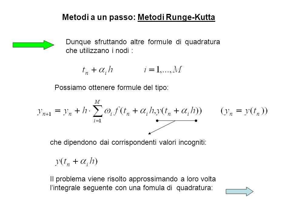 Dunque sfruttando altre formule di quadratura che utilizzano i nodi : Metodi a un passo: Metodi Runge-Kutta che dipendono dai corrispondenti valori in