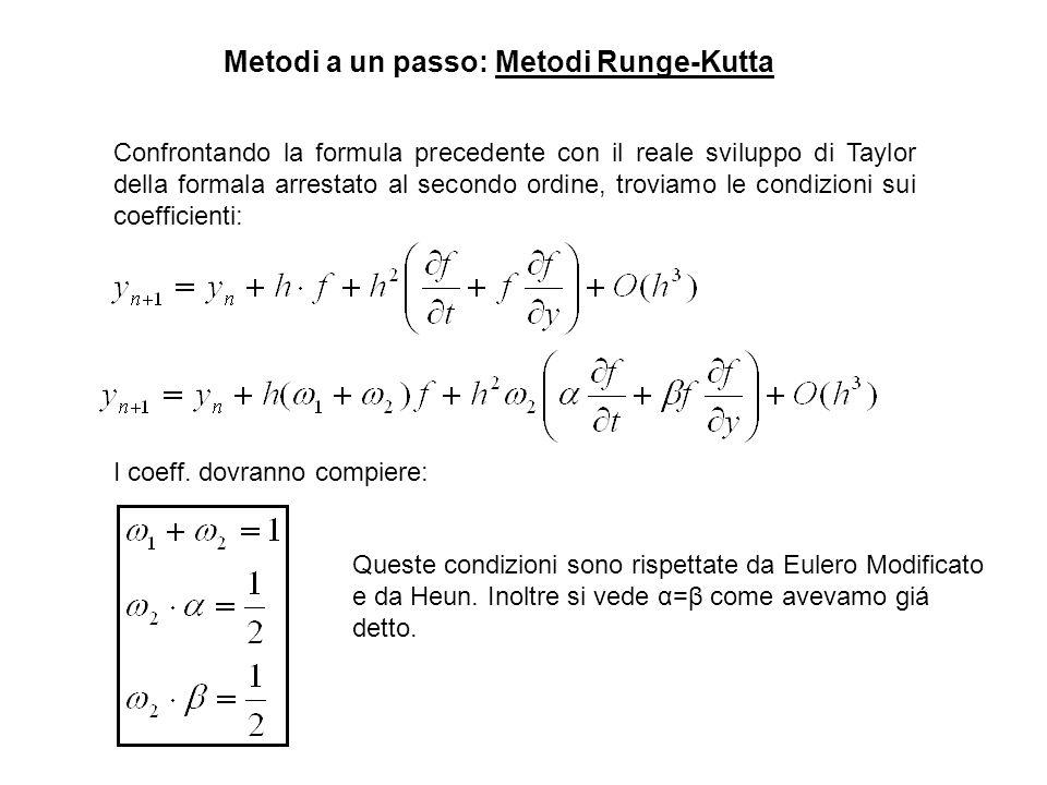 Metodi a un passo: Metodi Runge-Kutta Confrontando la formula precedente con il reale sviluppo di Taylor della formala arrestato al secondo ordine, tr