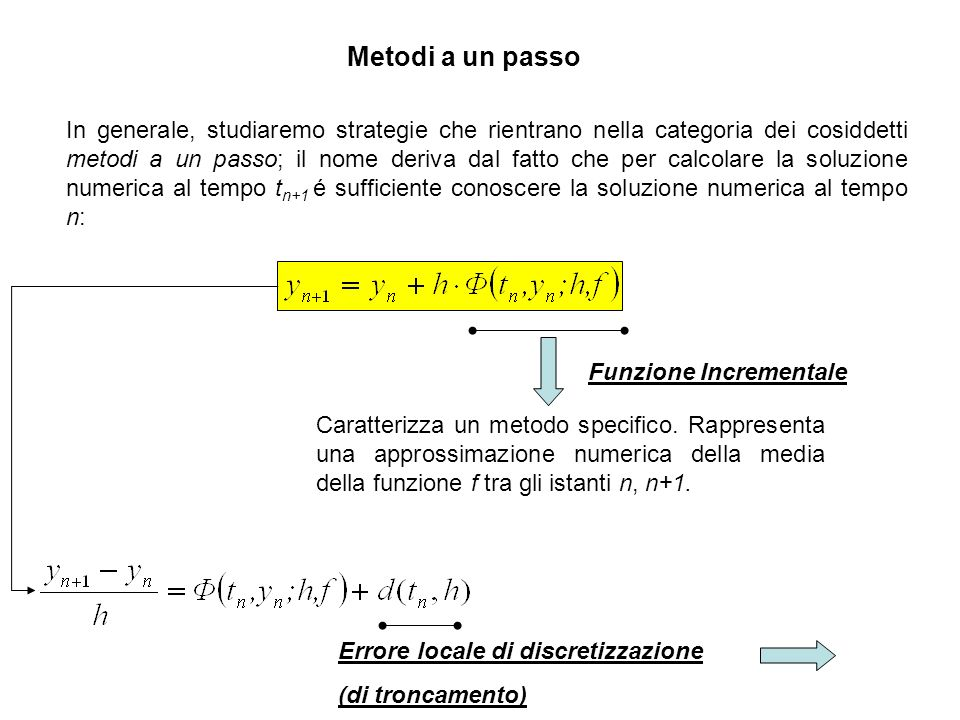 Metodi a un passo Consistenza:Consistenza: Un metodo a un passo si dice consistente nellintervallo di integrazione se d(t,h) é infinitesimo per h tendente a zero.