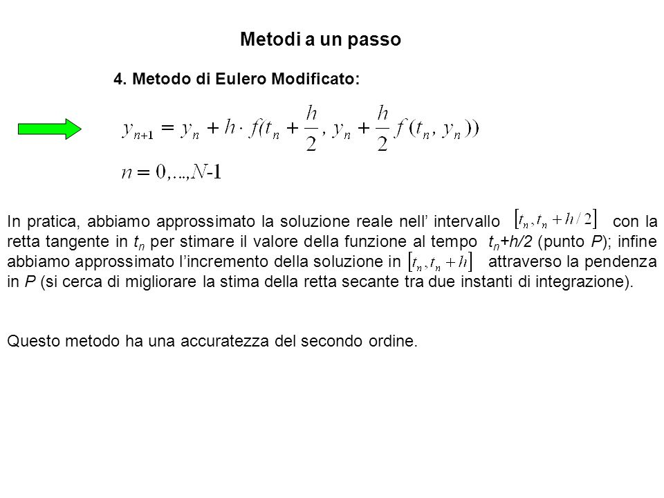 4. Metodo di Eulero Modificato: In pratica, abbiamo approssimato la soluzione reale nell intervallo con la retta tangente in t n per stimare il valore
