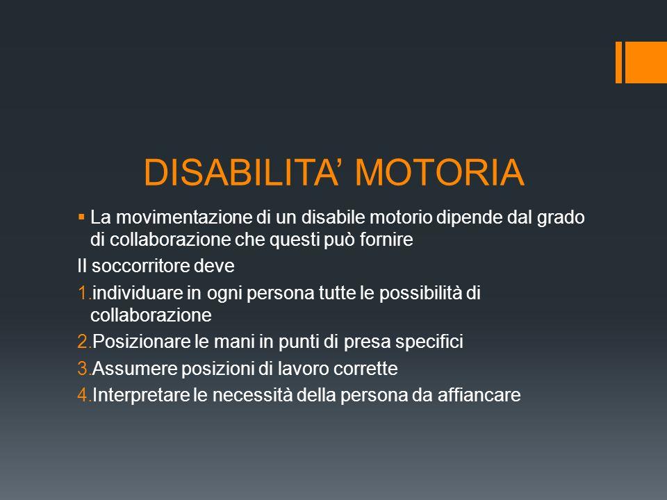 DISABILITA MOTORIA La movimentazione di un disabile motorio dipende dal grado di collaborazione che questi può fornire Il soccorritore deve 1.individu