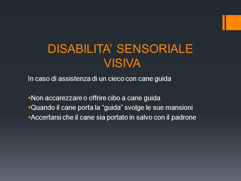 DISABILITA SENSORIALE VISIVA In caso di assistenza di un cieco con cane guida Non accarezzare o offrire cibo a cane guida Quando il cane porta la guid