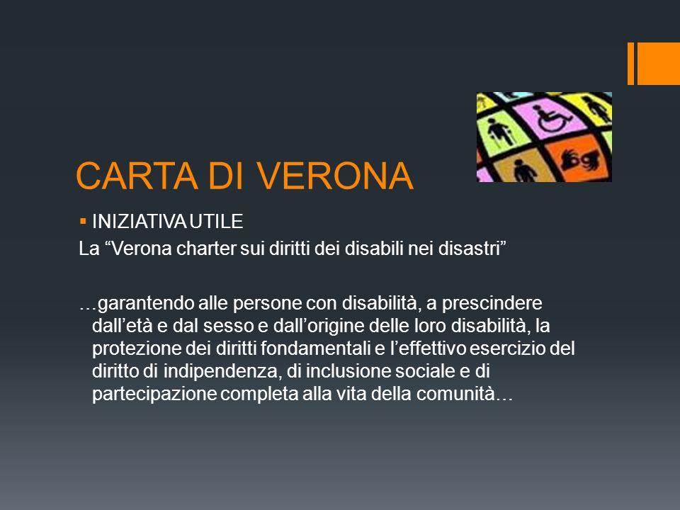 CARTA DI VERONA INIZIATIVA UTILE La Verona charter sui diritti dei disabili nei disastri …garantendo alle persone con disabilità, a prescindere dallet