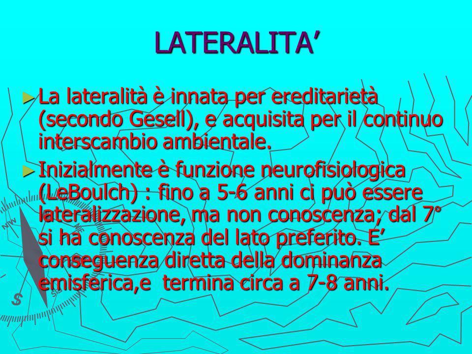 LATERALITA La lateralità è innata per ereditarietà (secondo Gesell), e acquisita per il continuo interscambio ambientale. La lateralità è innata per e