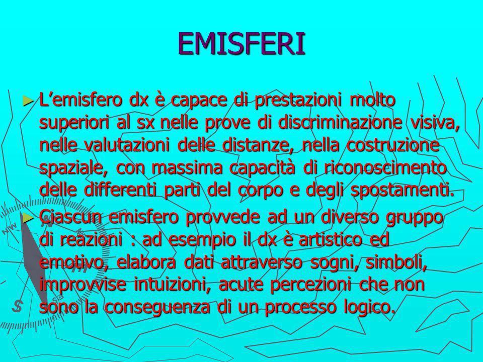 EMISFERI Lemisfero dx è capace di prestazioni molto superiori al sx nelle prove di discriminazione visiva, nelle valutazioni delle distanze, nella cos
