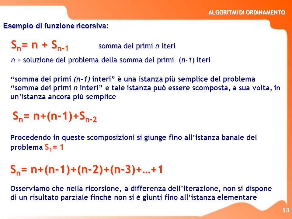 ALGORITMI DI ORDINAMENTO 13 Esempio di funzione ricorsiva: somma dei primi (n-1) interi è una istanza più semplice del problema somma dei primi n inte