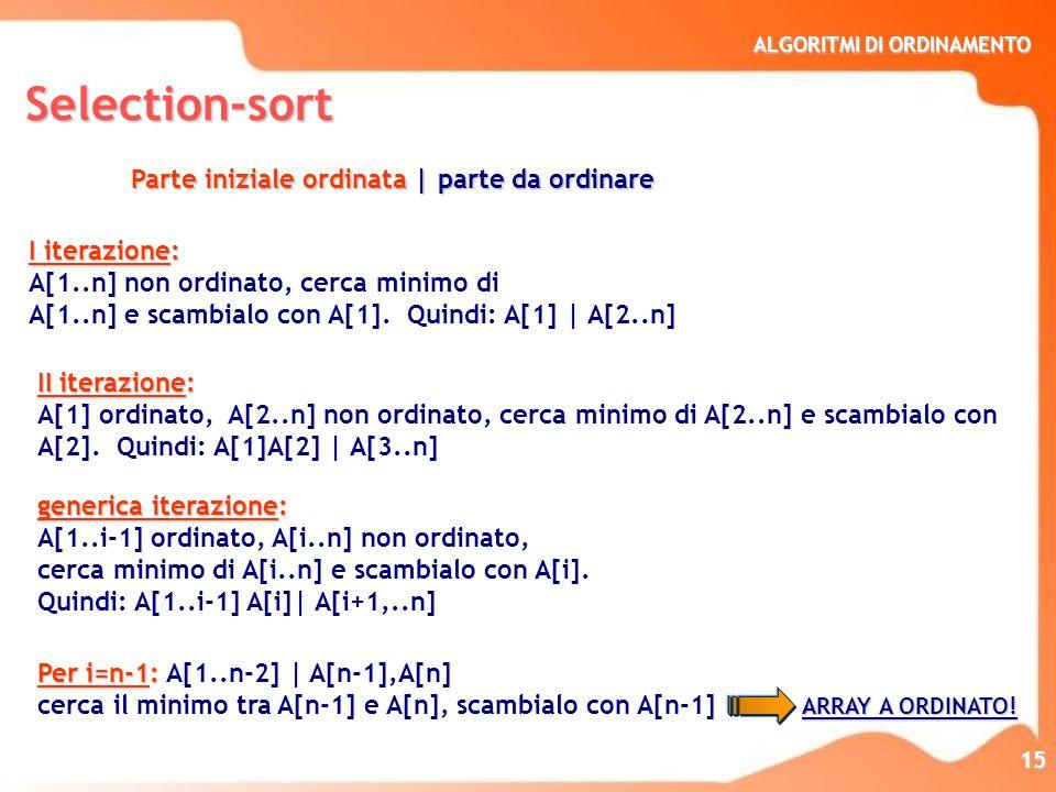 ALGORITMI DI ORDINAMENTO 15 Per i=n-1: Per i=n-1: A[1..n-2] | A[n-1],A[n] ARRAY A ORDINATO! cerca il minimo tra A[n-1] e A[n], scambialo con A[n-1] AR