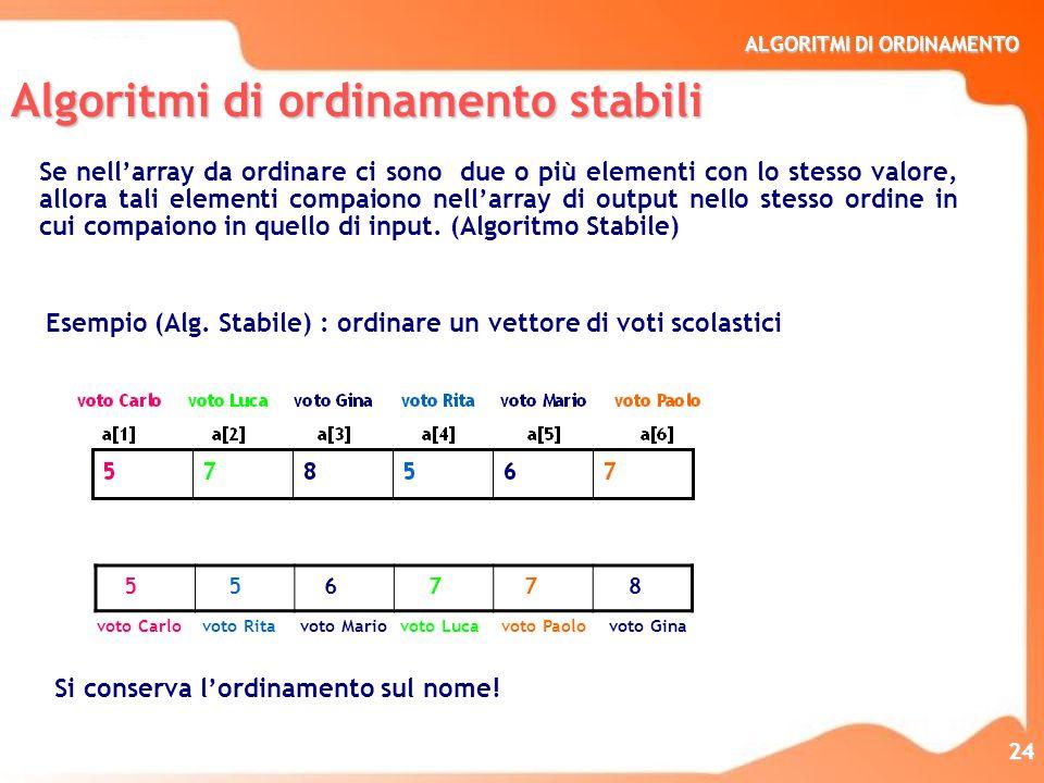 ALGORITMI DI ORDINAMENTO 24 Algoritmi di ordinamento stabili Se nellarray da ordinare ci sono due o più elementi con lo stesso valore, allora tali ele