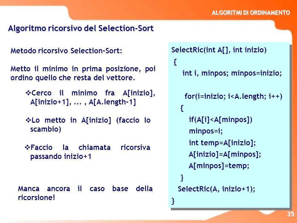 ALGORITMI DI ORDINAMENTO 35 Metodo ricorsivo Selection-Sort: Metto il minimo in prima posizione, poi ordino quello che resta del vettore. Algoritmo ri