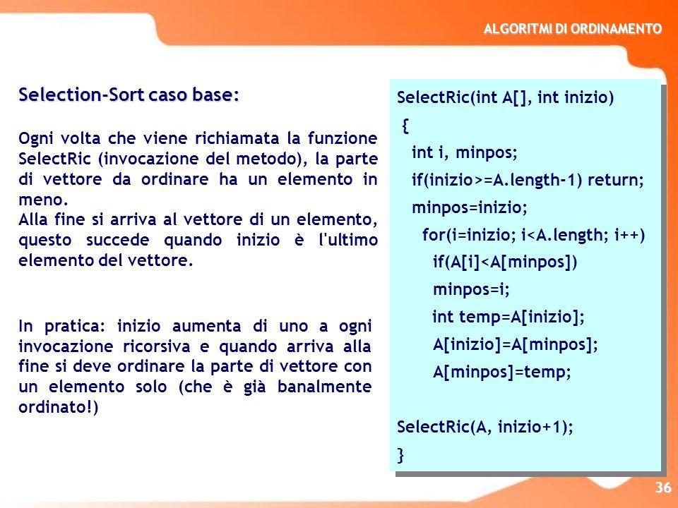 ALGORITMI DI ORDINAMENTO 36 Selection-Sort caso base: Ogni volta che viene richiamata la funzione SelectRic (invocazione del metodo), la parte di vett