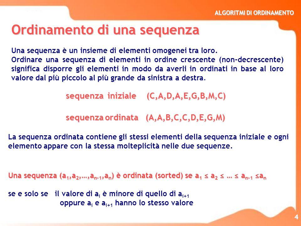 ALGORITMI DI ORDINAMENTO 4 Ordinamento di una sequenza Una sequenza è un insieme di elementi omogenei tra loro. Ordinare una sequenza di elementi in o