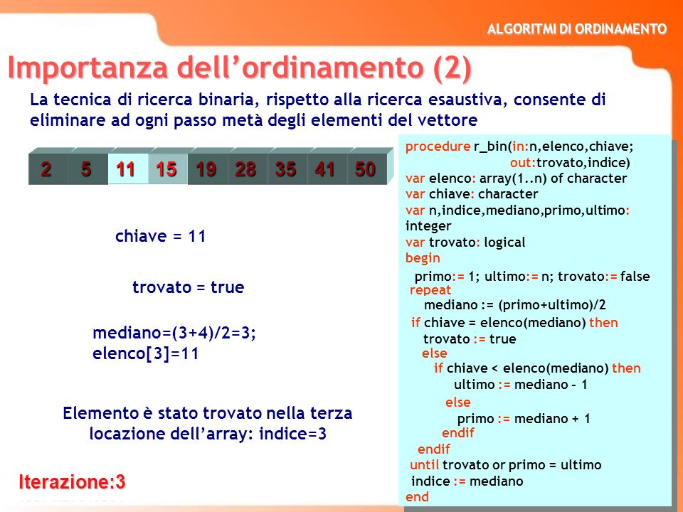 ALGORITMI DI ORDINAMENTO 7 procedure r_bin(in:n,elenco,chiave; out:trovato,indice) var elenco: array(1..n) of character var chiave: character var n,in