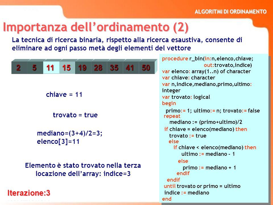 ALGORITMI DI ORDINAMENTO 8 type studente : record cognome: character nome : character matricola : integer media : integer end var stud1,stud2,stud3,stud4,stud5: studente type studente : record cognome: character nome : character matricola : integer media : integer end var stud1,stud2,stud3,stud4,stud5: studente Il valore su cui si effettua lordinamento di un insieme di elementi si definisce chiave (key) di ordinamento.
