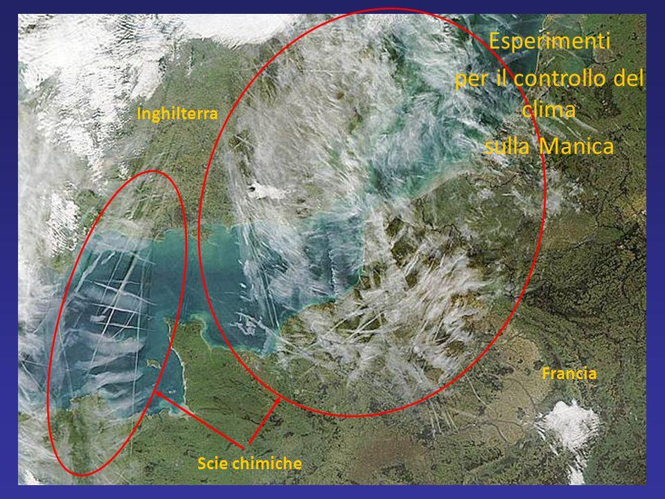 Francia Inghilterra Scie chimiche Esperimenti per il controllo del clima sulla Manica