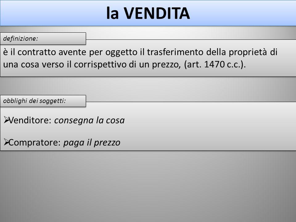 è il contratto avente per oggetto il trasferimento della proprietà di una cosa verso il corrispettivo di un prezzo, (art. 1470 c.c.). la VENDITA defin