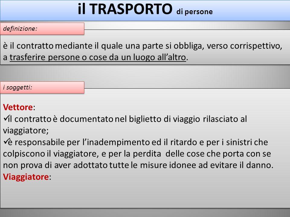 il TRASPORTO di persone Vettore: il contratto è documentato nel biglietto di viaggio rilasciato al viaggiatore; è responsabile per linadempimento ed i