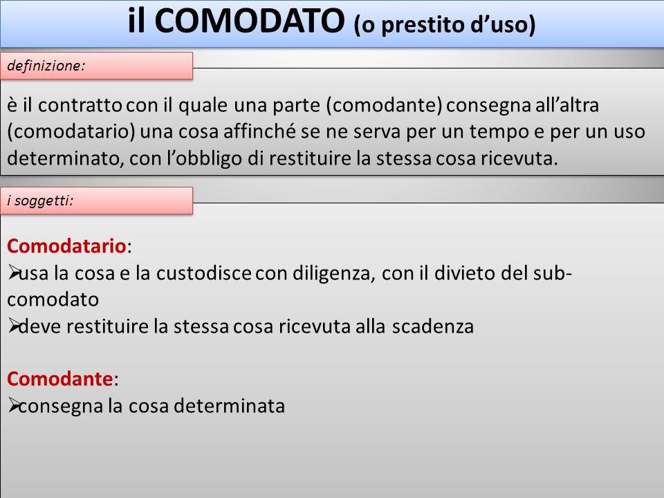 il COMODATO (o prestito duso) Comodatario: usa la cosa e la custodisce con diligenza, con il divieto del sub- comodato deve restituire la stessa cosa