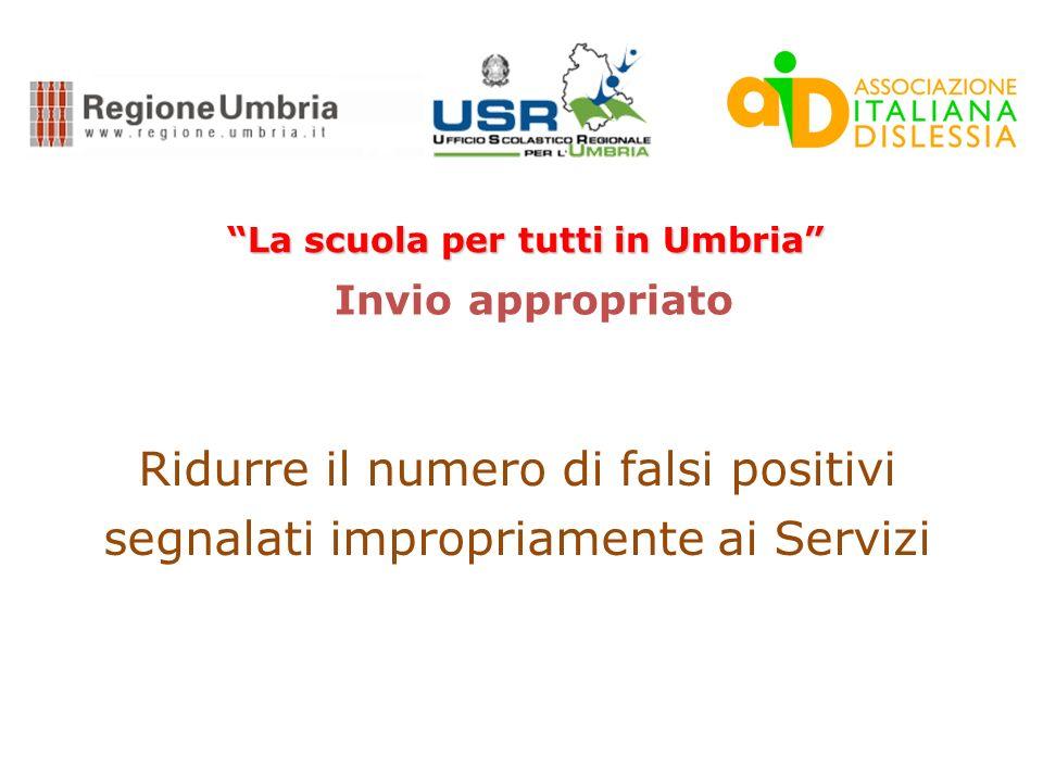 La scuola per tutti in Umbria Obbiettivi: Promuovere lattenzione e la sensibilità della scuola in ordine alla complessità dei processi di lettura e sc
