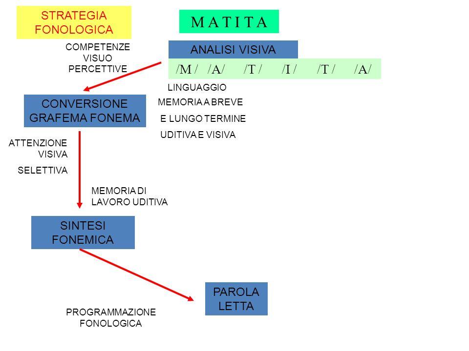 MODELLO DI LETTURA A 2 VIE matita STRATEGIA FONOLOGICA Titolo diagramma