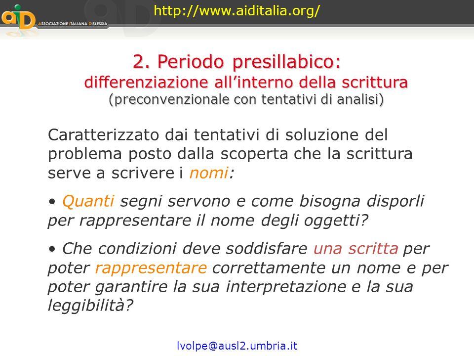 http://www.aiditalia.org/ lvolpe@ausl2.umbria.it Il bambino in seguito cessa di considerare i segni come oggetti grafici diversi dal disegno, ma li ve