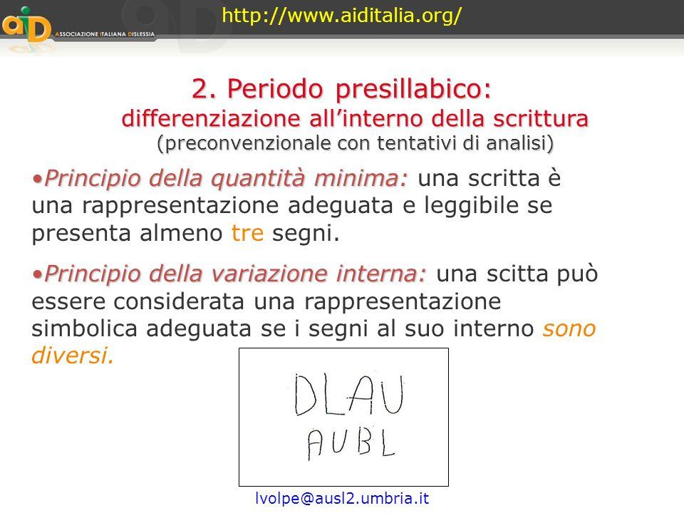 http://www.aiditalia.org/ lvolpe@ausl2.umbria.it 2. Periodo presillabico: differenziazione allinterno della scrittura (preconvenzionale con tentativi