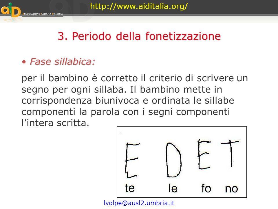 http://www.aiditalia.org/ lvolpe@ausl2.umbria.it 3. Periodo della fonetizzazione (convenzionale) Il bambino scopre che la scrittura è la rappresen- ta