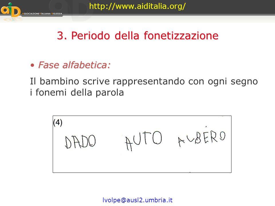http://www.aiditalia.org/ lvolpe@ausl2.umbria.it 3. Periodo della fonetizzazione Fase sillabica - alfabetica: Il bambino, pur non abbandonando complet