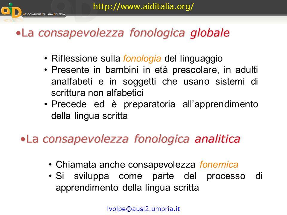 http://www.aiditalia.org/ lvolpe@ausl2.umbria.it La consapevolezza fonologica struttura fonologica È una competenza metafonologica (Capacità di compar