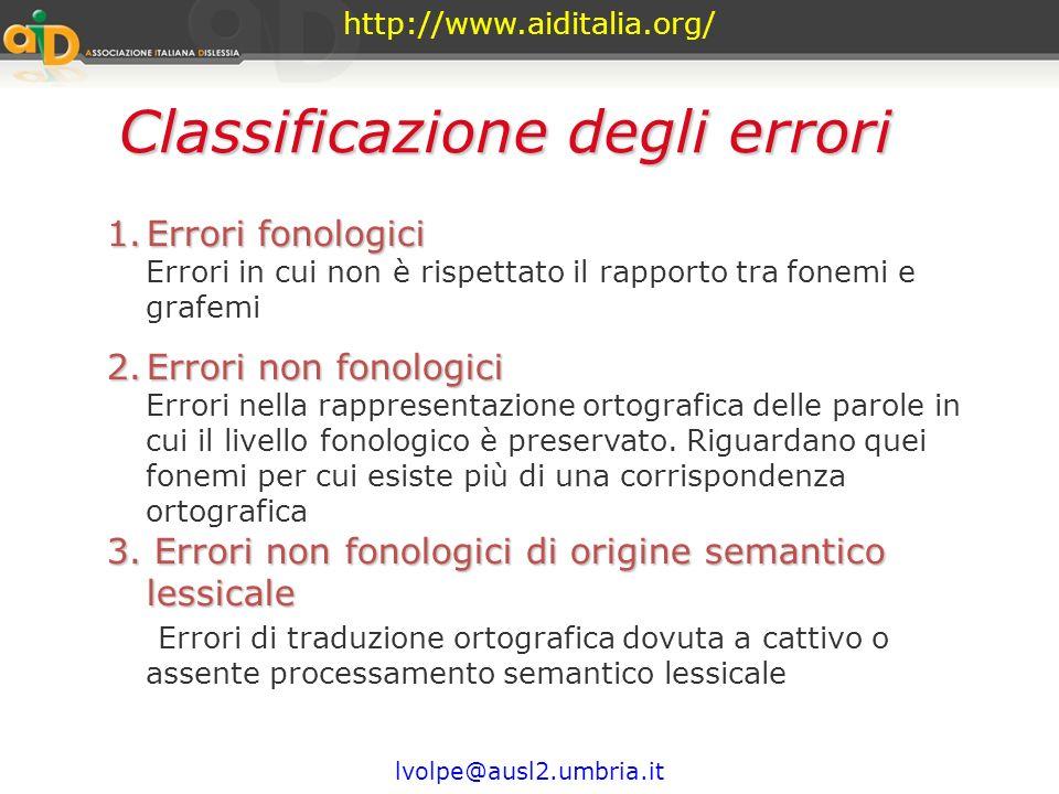 http://www.aiditalia.org/ lvolpe@ausl2.umbria.it Sarebbe opportuno ripetere periodicamente una prova di scrittura spontanea nel corso del primo anno d