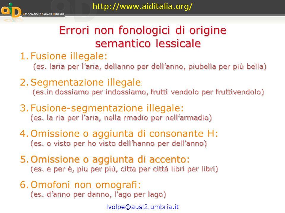 http://www.aiditalia.org/ lvolpe@ausl2.umbria.it Errori non fonologici (es. quoio per cuoio, cuando per quando, squola per scuola) 1.Scambio grafema o