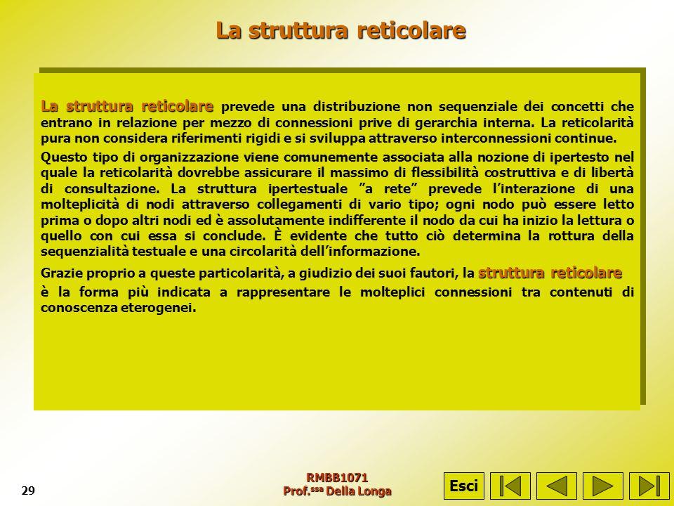 RMBB1071 Prof. ssa Della Longa29 La struttura reticolare La struttura reticolare La struttura reticolare La struttura reticolare prevede una distribuz