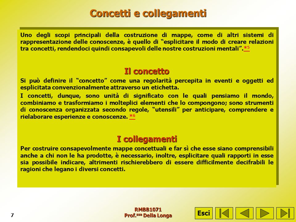 RMBB1071 Prof. ssa Della Longa7 Concetti e collegamenti Uno degli scopi principali della costruzione di mappe, come di altri sistemi di rappresentazio