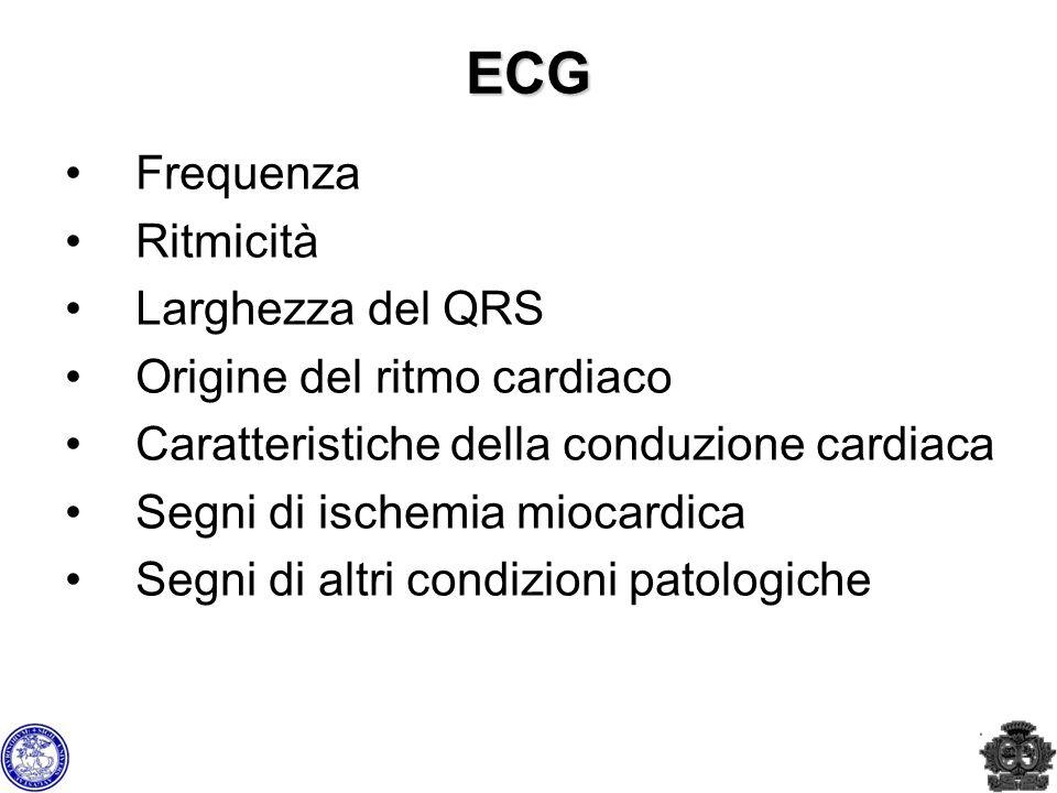 ECG Frequenza Ritmicità Larghezza del QRS Origine del ritmo cardiaco Caratteristiche della conduzione cardiaca Segni di ischemia miocardica Segni di a
