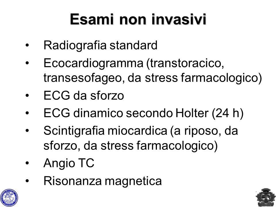 Esami non invasivi Radiografia standard Ecocardiogramma (transtoracico, transesofageo, da stress farmacologico) ECG da sforzo ECG dinamico secondo Hol