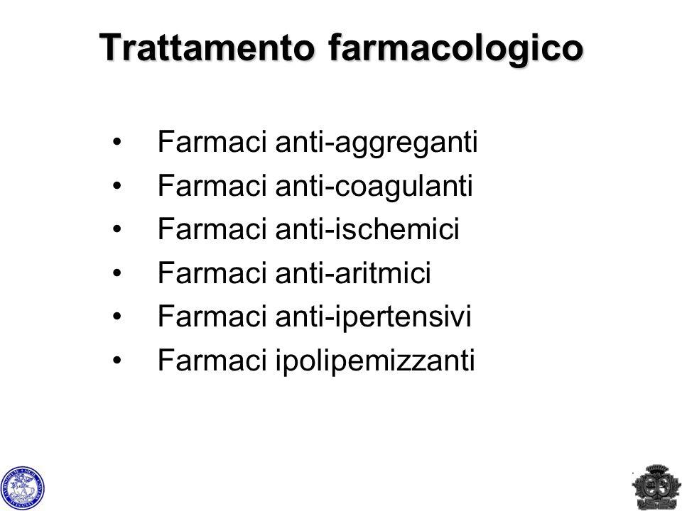 Trattamento farmacologico Farmaci anti-aggreganti Farmaci anti-coagulanti Farmaci anti-ischemici Farmaci anti-aritmici Farmaci anti-ipertensivi Farmac