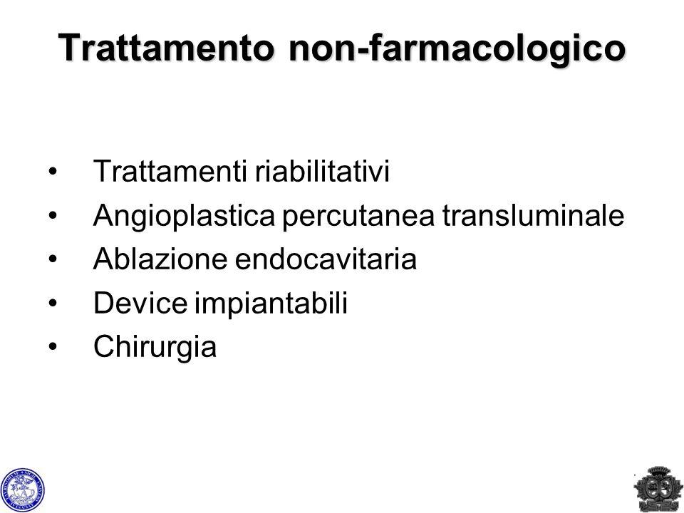 Trattamento non-farmacologico Trattamenti riabilitativi Angioplastica percutanea transluminale Ablazione endocavitaria Device impiantabili Chirurgia