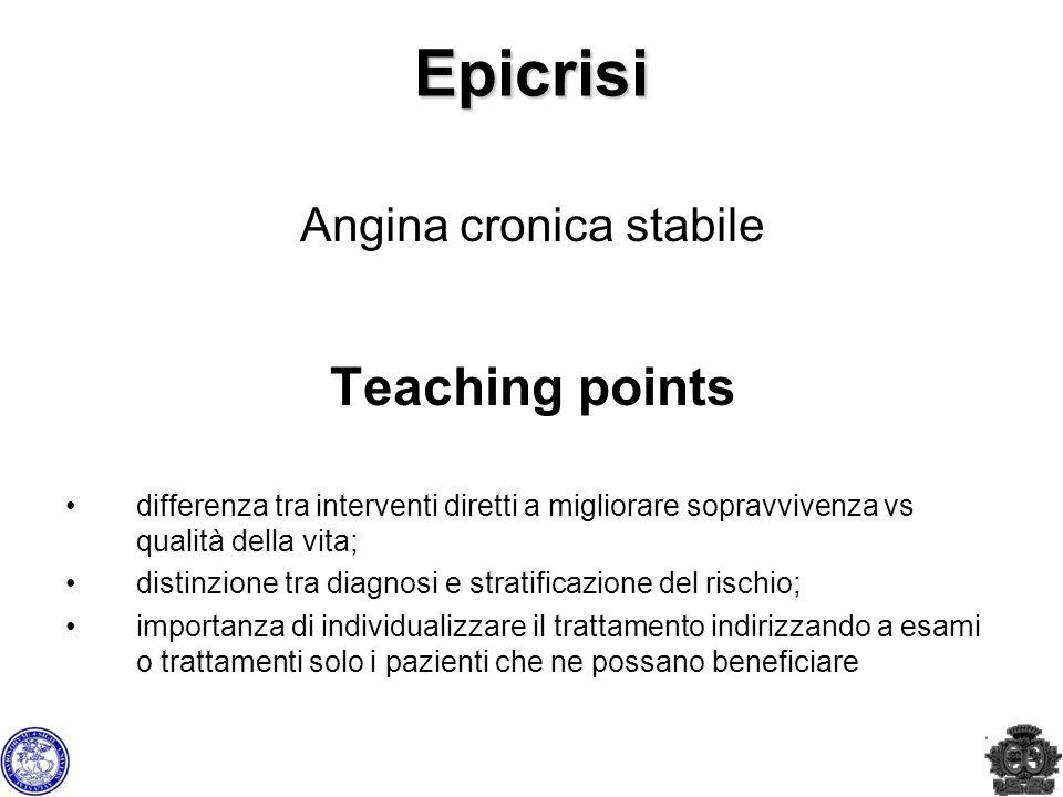 Epicrisi Angina cronica stabile Teaching points differenza tra interventi diretti a migliorare sopravvivenza vs qualità della vita; distinzione tra di