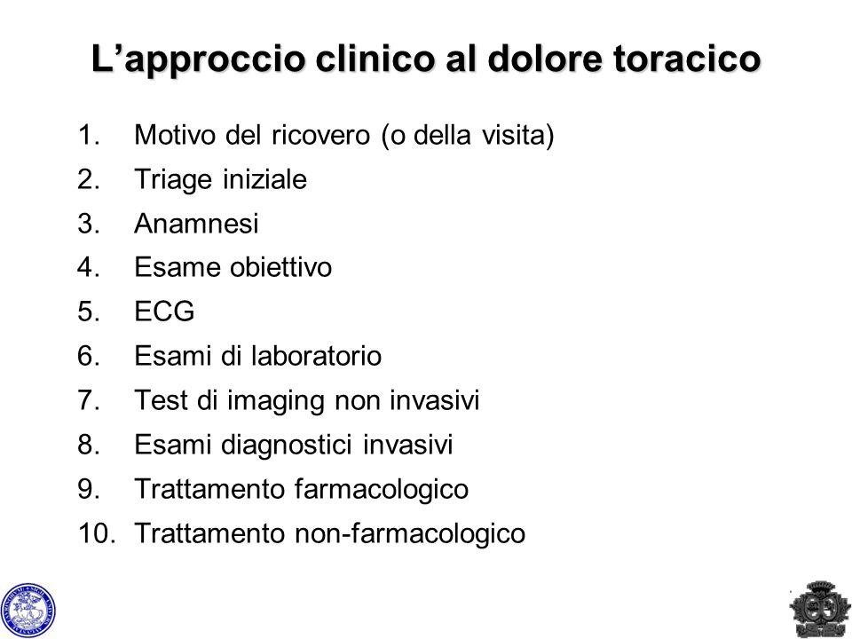 1.Motivo del ricovero (o della visita) 2.Triage iniziale 3.Anamnesi 4.Esame obiettivo 5.ECG 6.Esami di laboratorio 7.Test di imaging non invasivi 8.Es