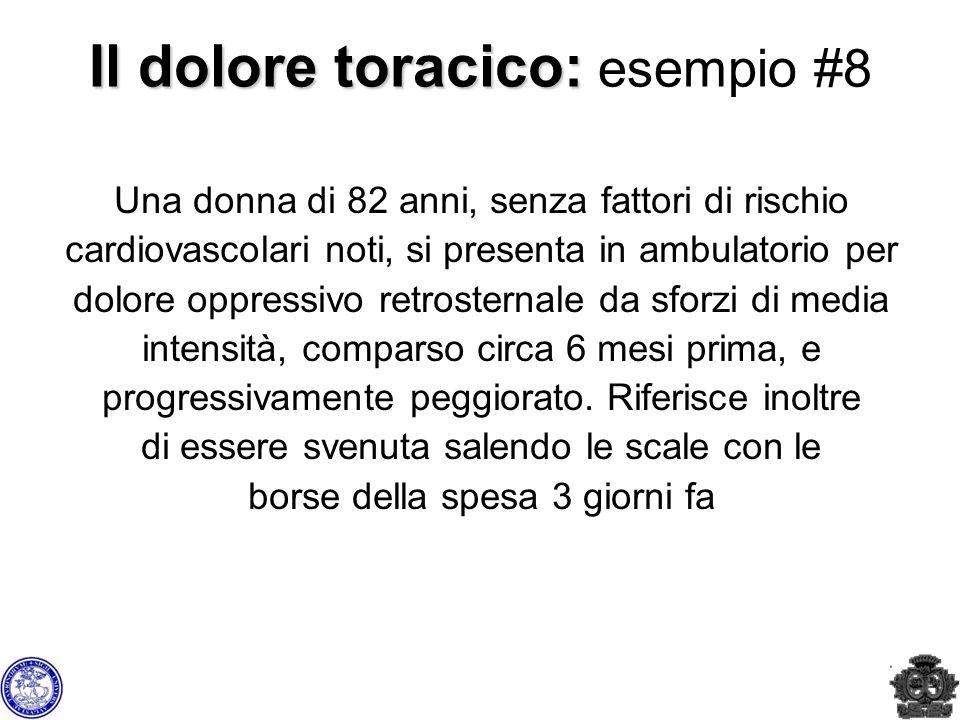 Il dolore toracico: Il dolore toracico: esempio #8 Una donna di 82 anni, senza fattori di rischio cardiovascolari noti, si presenta in ambulatorio per