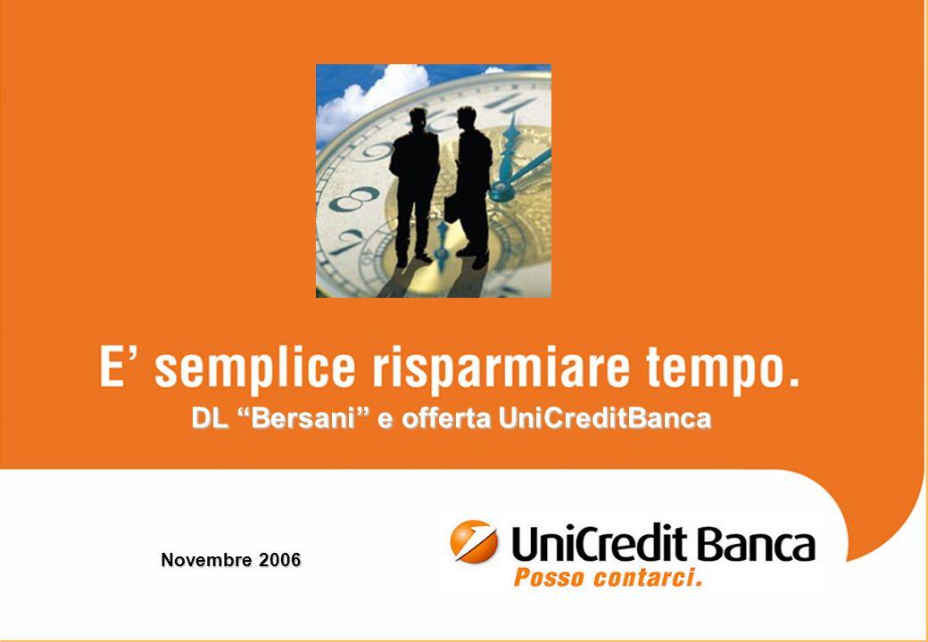 1 Novembre 2006 DL Bersani e offerta UniCreditBanca