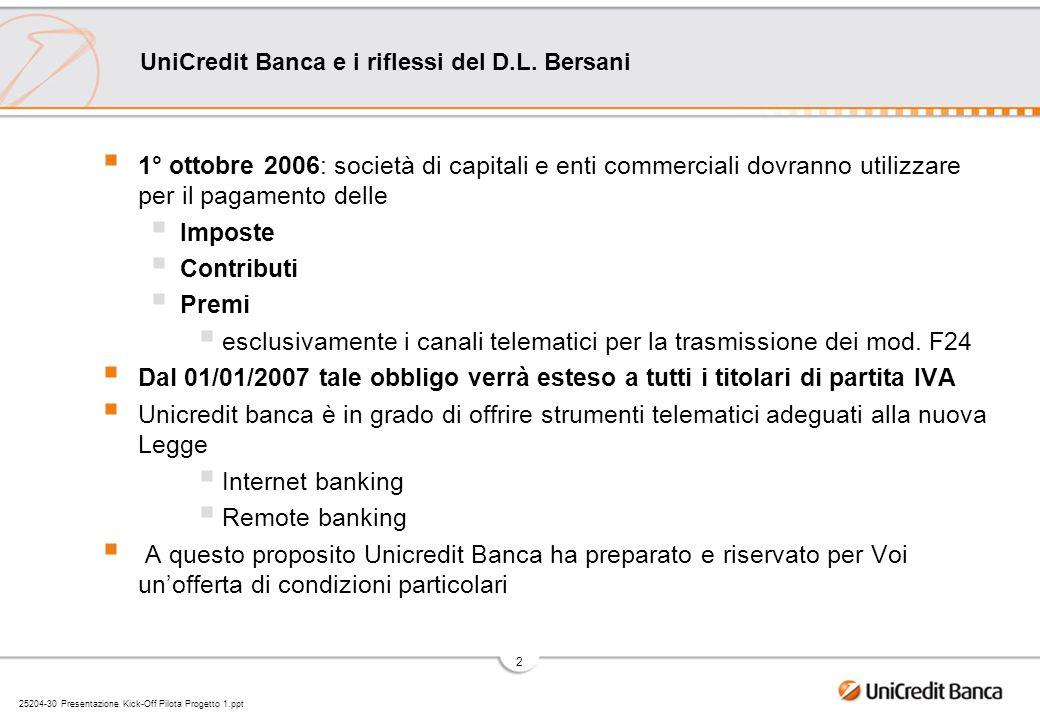 25204-30 Presentazione Kick-Off Pilota Progetto 1.ppt 2 UniCredit Banca e i riflessi del D.L. Bersani 1° ottobre 2006: società di capitali e enti comm