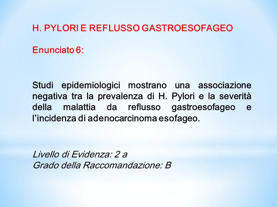 Le evidenze disponibili non mostrano chiari effetti di H pylori nei confronti dei seguenti disturbi e nemmeno che la eradicazione le causi o le peggiori.