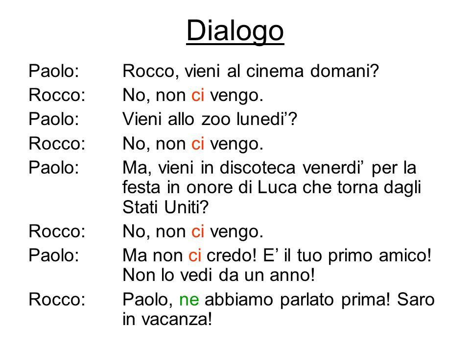 Dialogo Paolo:Rocco, vieni al cinema domani? Rocco:No, non ci vengo. Paolo:Vieni allo zoo lunedi? Rocco: No, non ci vengo. Paolo:Ma, vieni in discotec