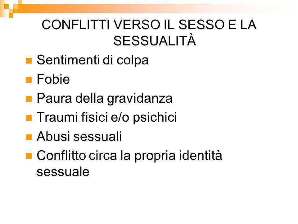 CONFLITTI VERSO IL SESSO E LA SESSUALITÀ Sentimenti di colpa Fobie Paura della gravidanza Traumi fisici e/o psichici Abusi sessuali Conflitto circa la propria identità sessuale