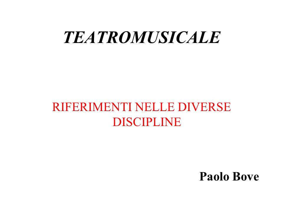 TEATROMUSICALE RIFERIMENTI NELLE DIVERSE DISCIPLINE Paolo Bove
